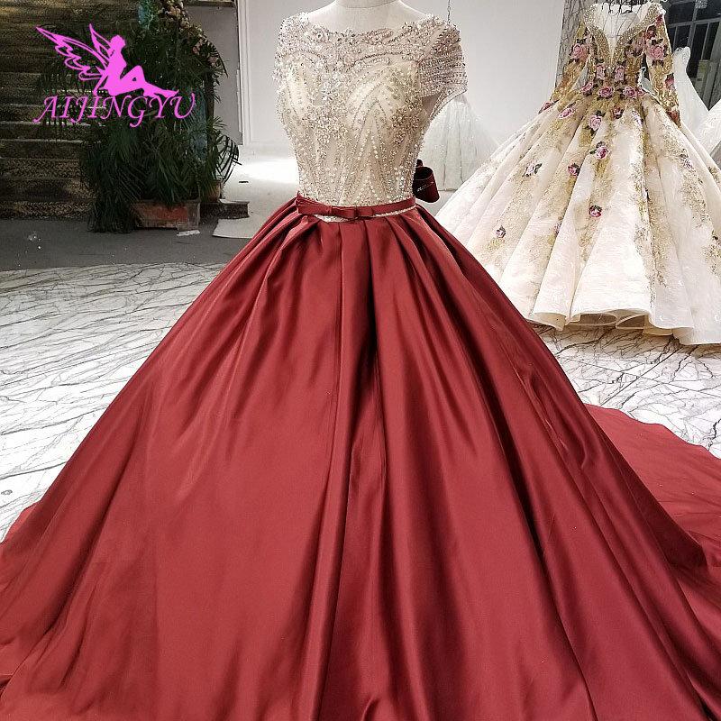 AIJINGYU Asian Wedding Dresses Popular Gown Muslim Beaded