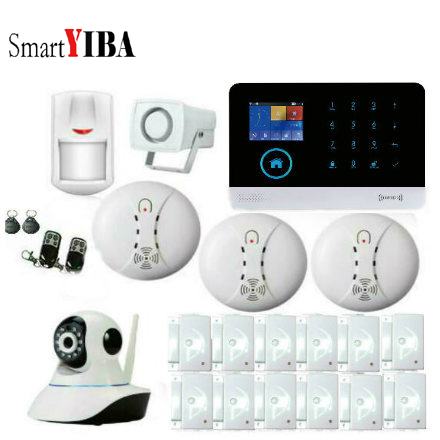 SmartYIB English Spanish French Voice Prompt Wireless WIFI GSM House Alarm System with IP Camera Smoke Sensor Little Siren Horn french spanish english voice prompt wireless gsm sms pstn intrusion alarm system st iiib with pet immune pir sensor