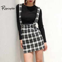 Rapcopter High Waist Mini Skirt Women Fasion Plaid Adjustable Strap Skirt Sexy Streetwear Skirts