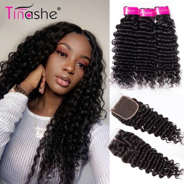 Mechones de pelo Tinashe de onda profunda con cierre paquetes de tejido de pelo brasileño con cierre Remy cabello humano 3 paquetes con cierre