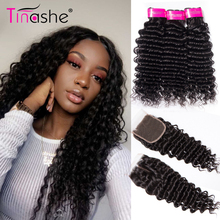 Tinashe Hair Deep Wave Bundles With Closure Brazilian Hair Weave Bundles With Closure Remy Human Hair 3 Bundles With Closure(China)