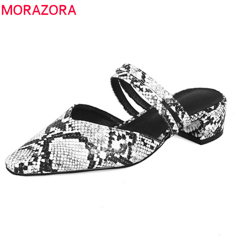 MORAZORA 2019 newest big size 44 women slipper pu slip on summer shoes low heels shoes