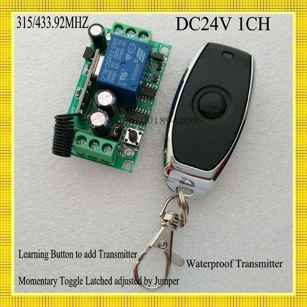 DC 24V 1CH Remote Switch 10A Relay Switching Wireless Controller NO COM NC Button ON OFF Remote Switches 315/433 ASK Smart Home small relays wireless rc switch button signal line on off dc3 7 5v 12v controller remote control module