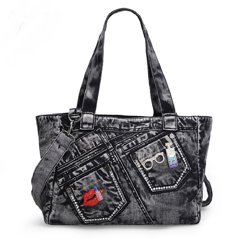 Casual Fashion Zipper Trendy Design Denim Pocket Vintage Women Tote Bags Lady Handbags Jeans Denim Shoulder Bag Messenger bags luxury good quality new fashion women zipper jumpsuit slim fit skinny jeans rompers pocket denim jumpsuits size sexy girl casual
