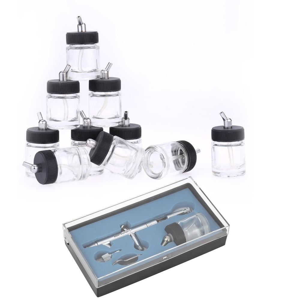 купить Dual-Action Airbrush compressor Kit paint spray gun Air-Brush sandblaster for Art Nail 0.5mm 22cc + 10PCS Airbrush Glass Bottles недорого