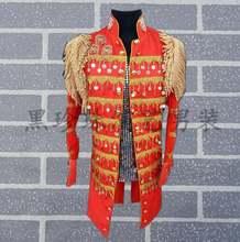 Черно красные мужские костюмы для сцены певиц мужской блейзер