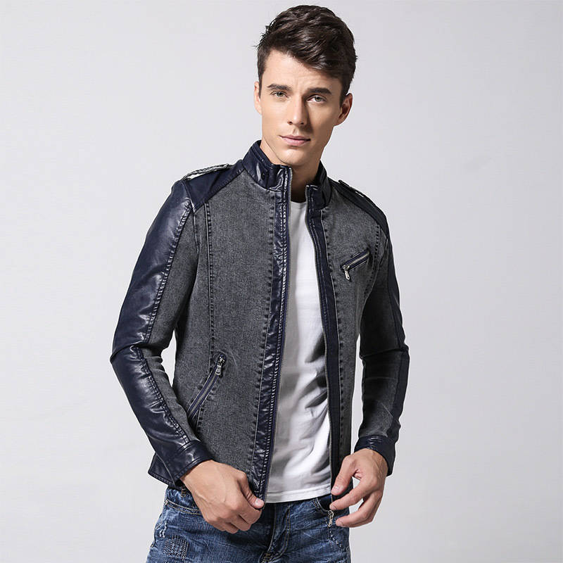 US $76 92 |Camperas Hombre 2016 Spring Denim Jacket Men Leather Sleeve  Manteau Homme Ceket Jaqueta Jeans Masculina Mens Jackets and Coats-in  Jackets