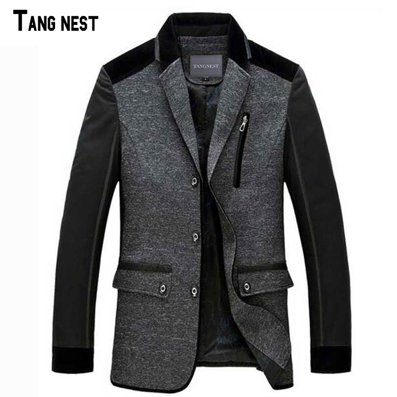 TANGNEST 2017 New Arrival Men s Fashion Winter Single Breasted Blazer Suit Male Slim Fit New