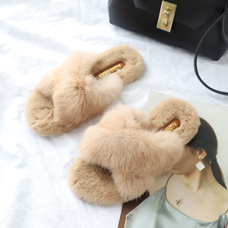 Phyanic 2018 Autumn Winter  Nature Rabbit Fur Flat Heel Slides Bedroom Girls Velvet Slippers Soft Fur Flip Flops Women Slippers