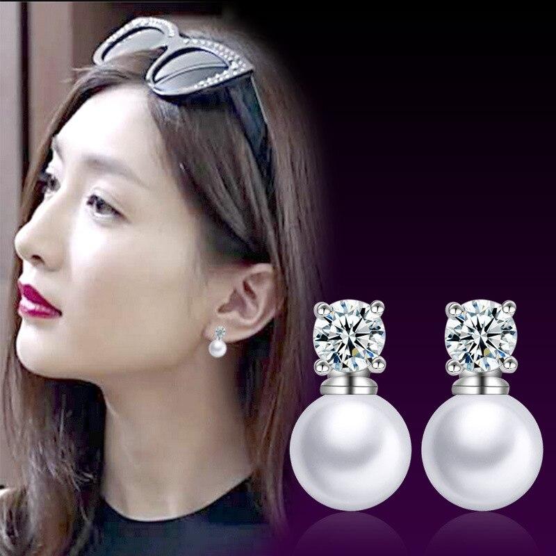 Korean Jewelry Women Pearl Stud Earrings Crystal Double Side Earring Femme Earing Brinco Pusety in Ears Wedding Party