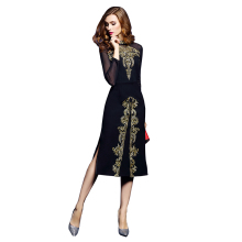 Europe and America Women Fashion Stand Collar Long Sleeve Gauze Patchwork Sexy Side Split Elegant Golden Embroidery Long Dress