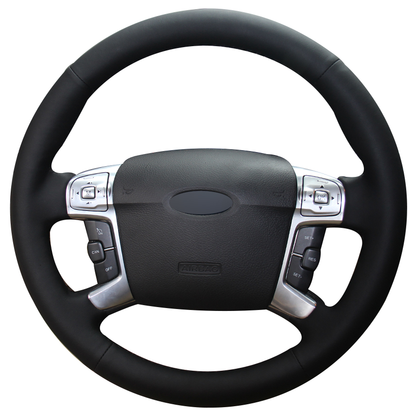 Black Natural Leather Car Steering Wheel Cover for Ford Mondeo Mk4 2007 2012 S Max 2008