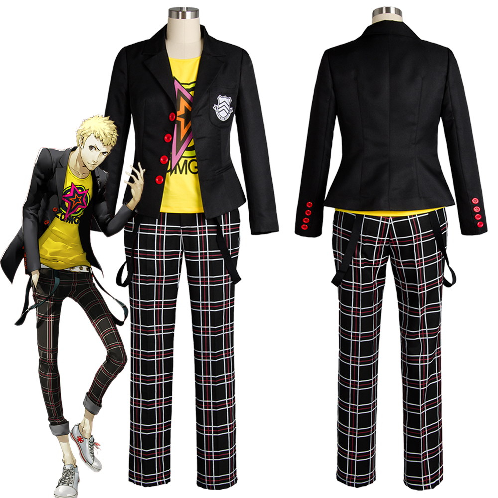 Ryuji Sakamoto Cosplay Persona 5 Sakamoto Ryoji Cosplay Costume Outfit Attire School Uniform Halloween Carnival Costumes