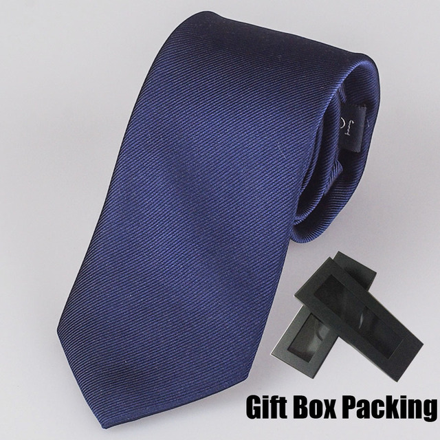 Роскошные 100% ШЕЛКОВЫЙ галстук Подарочной коробке упаковки Твердых темно-синий галстук, чтобы соответствовать форме