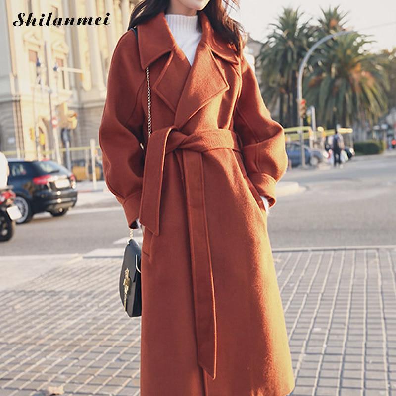 Retro Casaco Feminino 2018 Women Autumn Winter Simple Wool Long Coat Female Robe Outerwear Manteau Femme Solid Overcoat Belted