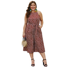 Summer Big Size Jumpsuits for Women Super Polka Dot Strap Mid Pants Plump Ladies Culotte Casual Oversized Elegant Lady