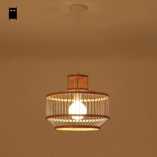 Us 136 0 Black Natural Bamboo Wicker Rattan Shade Cage Lantern Pendant Light Fixture Asian Rustic Anese Style Lamp Dining Table Room In