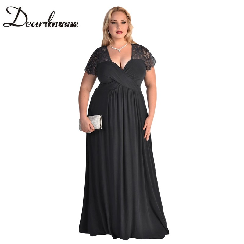 Dear lover Women Plus Size Spandex Dress Black Rhinestone Front Bodice  Scalloped Neckline Short Sleeve Maxi Dresses LC61376 8197574dbec8