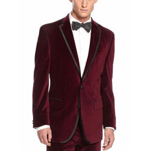 Burgundy Velvet Prom Suits Men for Wedding Custom Plus Size Groom Tuxedos 2Piece Smoking Jacket Slim Fit Terno Masculino