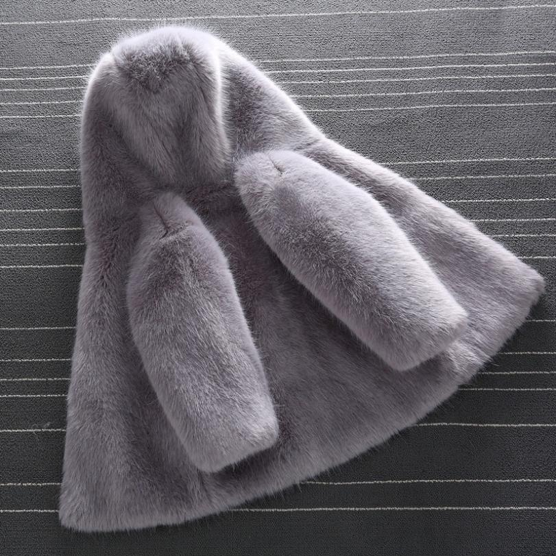 2019 Winter Children s Baby Faux Mink Fur Coat Fake Fur Hooded Lapel Jacket Boys Girls