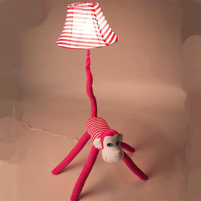 Creative Lovely Cute Fabric Pink Monkey Animal Led E27 Floor Lamp for Children's Room Living Room Kid's Present AC 80-265V 2181 modern creative fashion wood fabric led e27 floor lamp for living room bedroom hotel guest room deco light ac 80 265v 1010