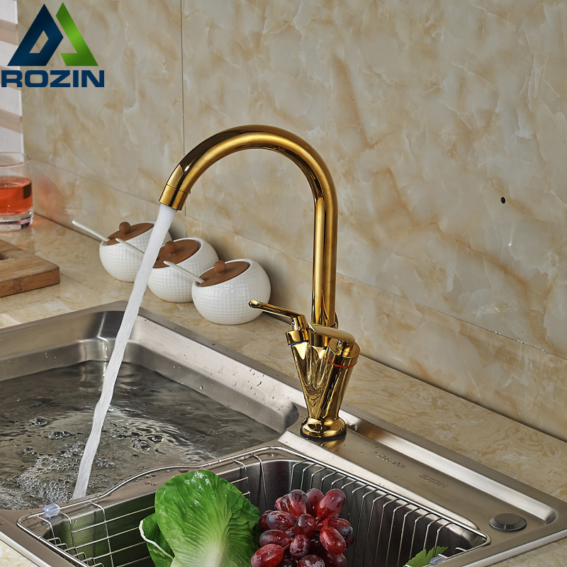 ФОТО Luxury Dual Handles Hot Cold Kitchen Sink Faucet Deck Mount One Hole Mixer Taps Golden Water Taps