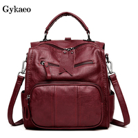 GYKAEO Korean Women Leather Backpack Fashion Ladies Travel Bag Preppy Style Schoolbags for Girls Laptop Knapsack Sac A Dos Femme