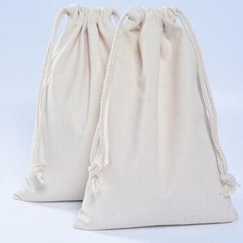 50pcs Handmade  Men Women Travel Packing organizer Reusable Multi-purpose Pouch Cotton Canvas Drawstring Small Gift Bags