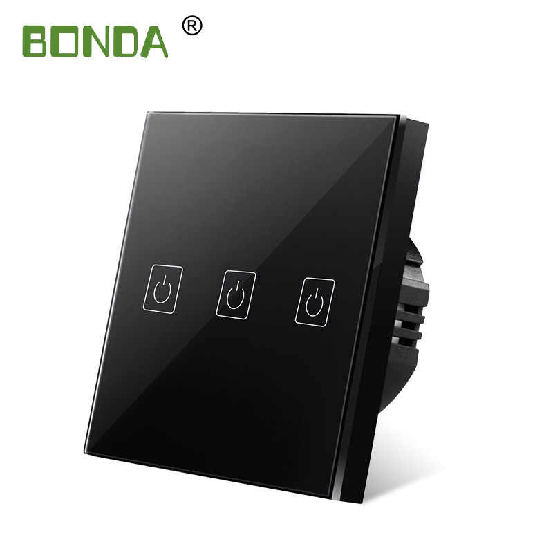 Bonda Touch Switch Uni Eropa/UK Standar Putih Kaca Kristal Panel Touch Switch, Ac220v, 3 Gang 3 Cara Uni Eropa Dinding Layar Sentuh Tombol