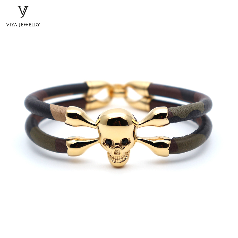 Charming Camouflage Cow Leather Bangle Gold-color Stainless Steel Skull CAMO Leather Bracelets Cool Skull Bracelet Best Men Gift cool skull style ox bone bracelets 2 pack