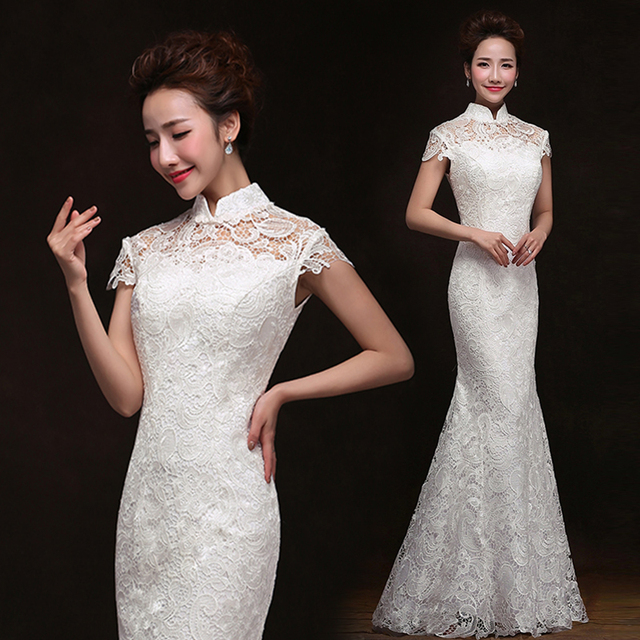 2015 sexy white lace cheongsam wedding dress long sexy chinese dresses  qipao dress f78d3b3faa86