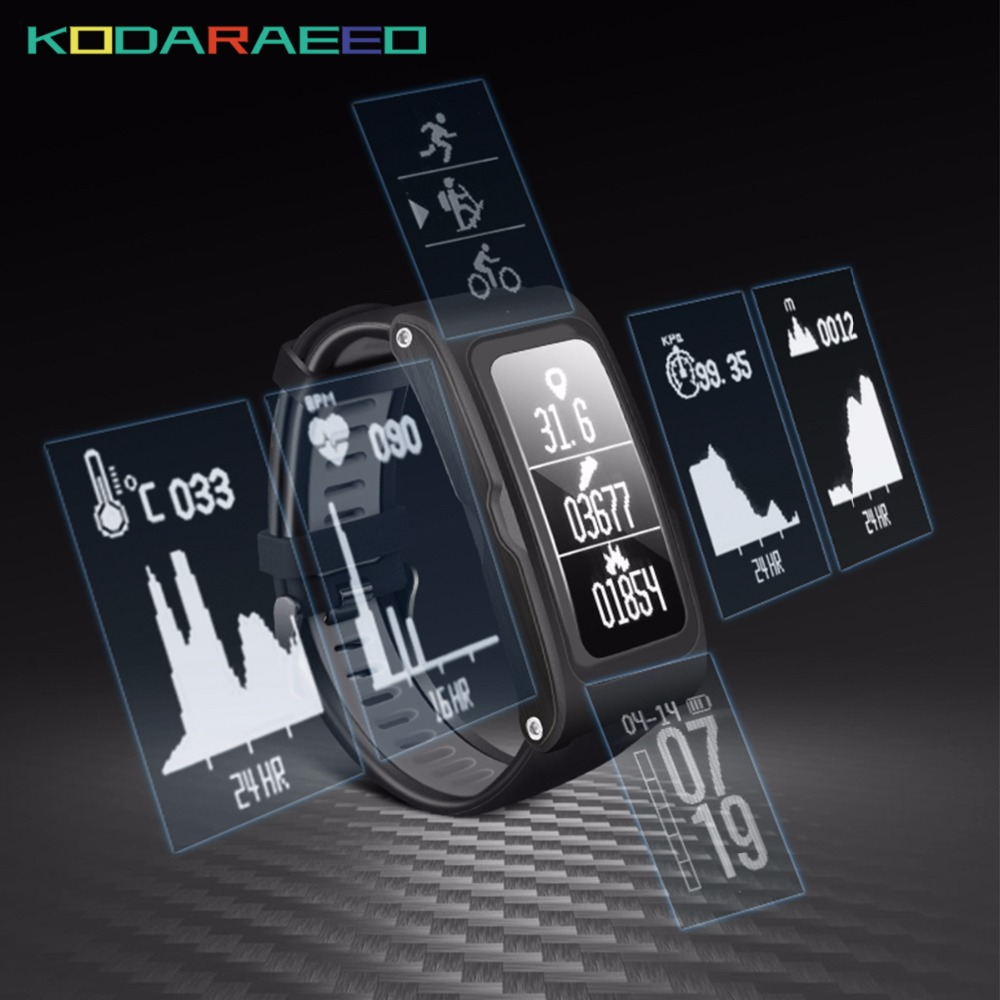 T28 Bluetooth Smart Bracelet Mobile Phone Watch Sports GPS Tracker Wristband Heart rate For iOS Android Run Riding Climbing