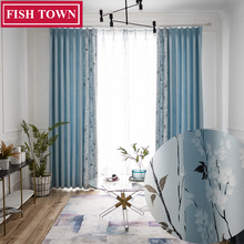 FISH TOWN  Nordic Pattern ( New Stitch Together way(Cannot Be Found In Your Market)Blue Curtains/Rideau Room/Bedroom/Livingroom