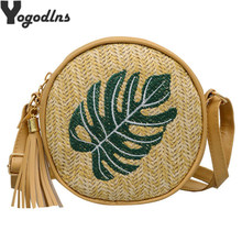2019 Pineapple Embroidered Round Straw Bags Women Summer Rattan Bag Handmade Woven Beach Crossbody Bag Circle Bohemia Handbag(China)