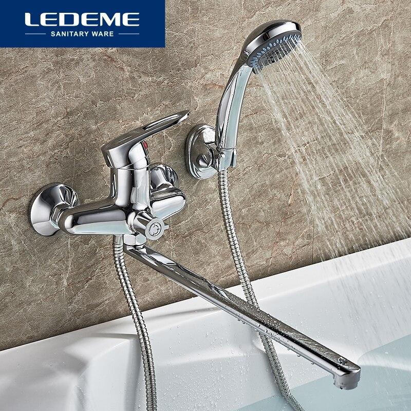 LEDEME 1 set Bathtub Faucets Outlet Pipe Bath Shower Bathtub Faucet Chrome Plated Surface Brass Material