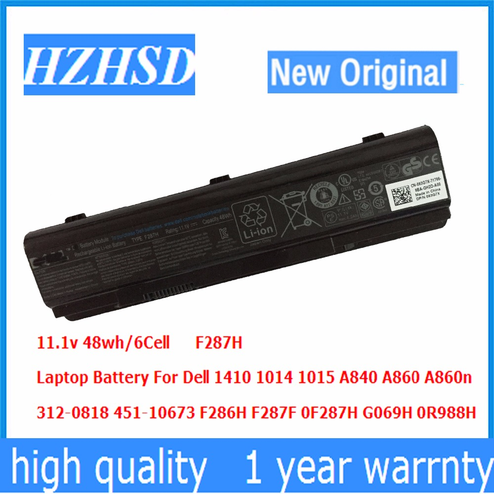 11.1v 48wh origin Laptop Battery For Dell 1410 1014 1015 A840 A860 312-0818 451-10673 F286H F287F F287H 0F287H G069H 0R988H