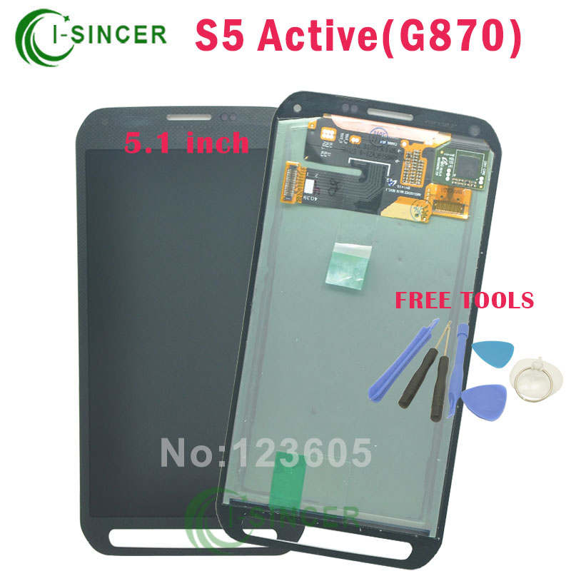 5.1 grey LCD Display Touch Screen Digitizer Assembly For Samsung for Galaxy S5 Active G870 Free Shipping