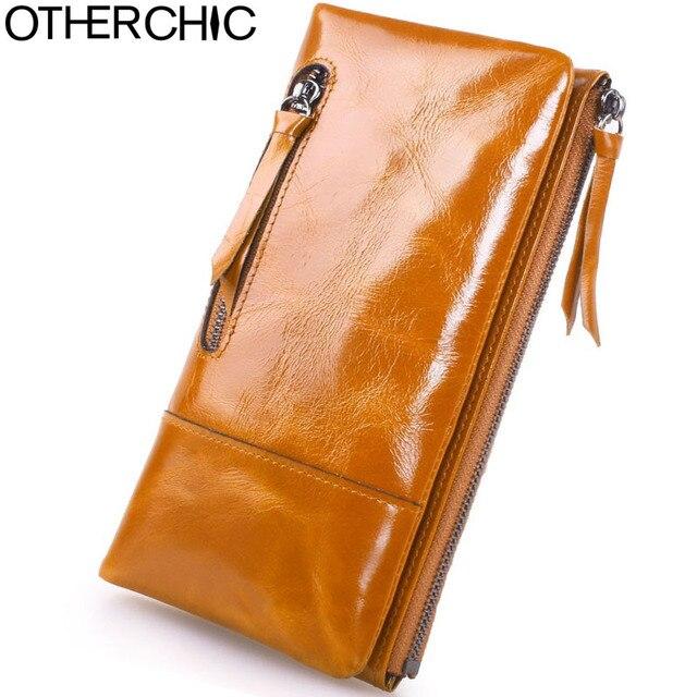 f24a11a20 OTHERCHIC Leather Wallets Zipper Cow Leather Card Holders Genuine Oil Wax Leather  Wallet Women Wallets Female Purses 17Y02-02