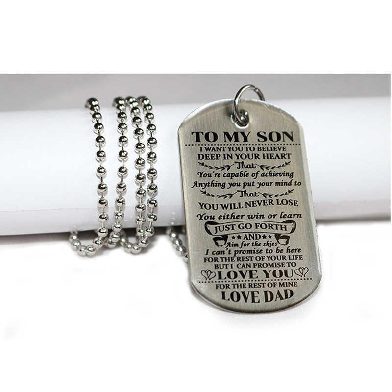 Charm moda srebrny modele prosta do mojej córki litery medale wojskowe Tag ze stali nierdzewnej Choker naszyjnik wisiorki biżuteria