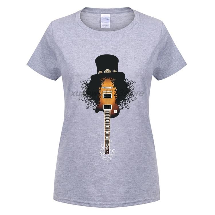 GILDAN femmes T-shirt Drôle Slash Guitare Rock Band Gun N Roses Slim Fit À Manches Courtes T-Shirt Conception Col Rond femmes de Tee