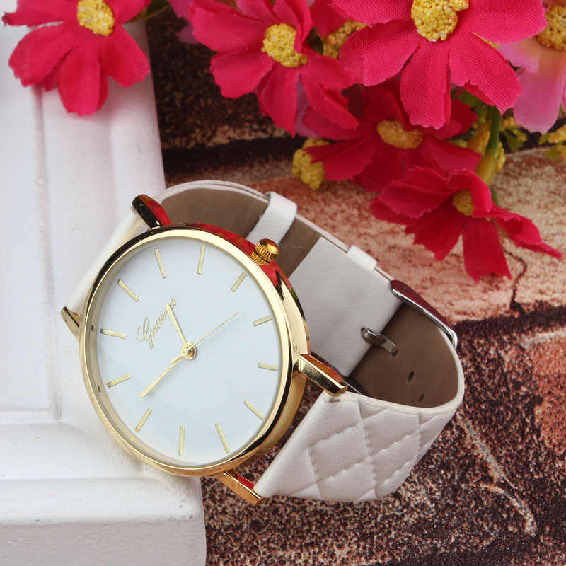2019 Hot Fashion Unisex Kasual Geneva Checkers Faux Kulit Analog dengan Festival Hadiah Senhoras Assistir Wd3 Laut