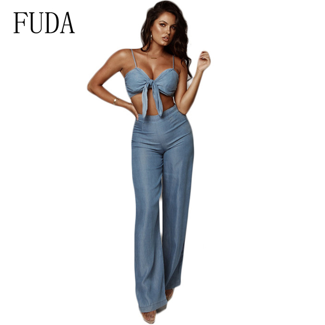 FUDA Slash Neck Denim Jumpsuit 2 Piece Set Strapless Bow Tie Sleeveless Wide Leg Jeans Casual Romper Cowboy Overalls Plus Size