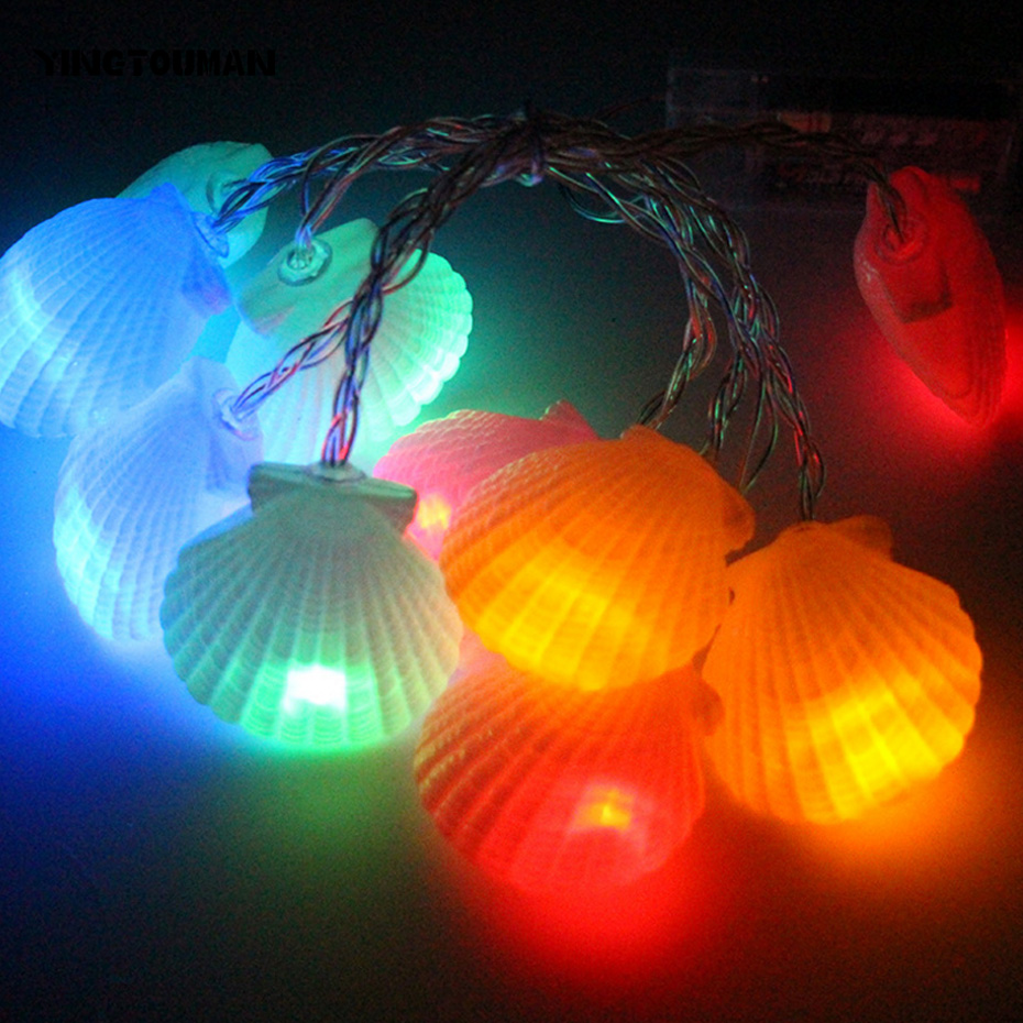 YINGTOUMAN Romantic Shell Type Battery Lamp String Lights Christmas Party Festival Holiday Decorative Lightings 1.5m 10LED