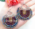 Multi Color Crystal Sterling Silver Earrings   free + shippment