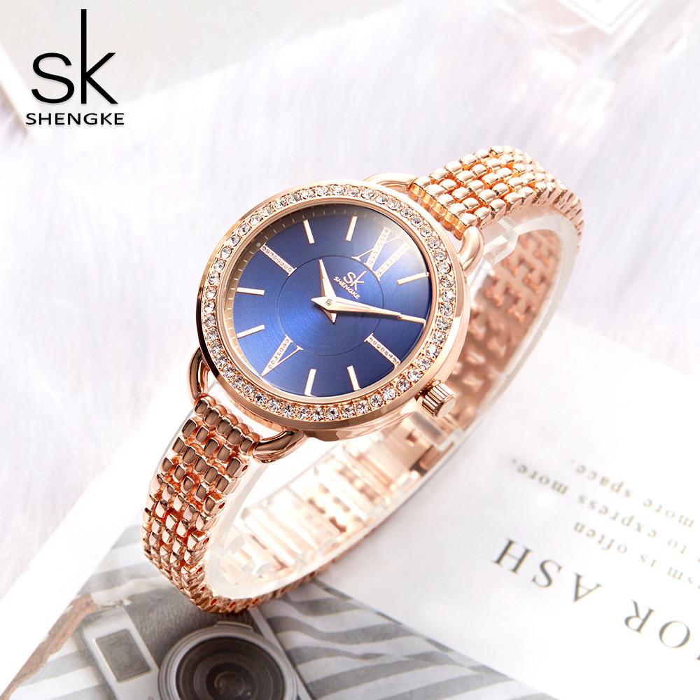 Women Watches Shengke Jewelry Gifts For Women's Luxury Rose Gold Steel Quartz Watch Brand  Fashion Ladies Clock Relogio Feminino