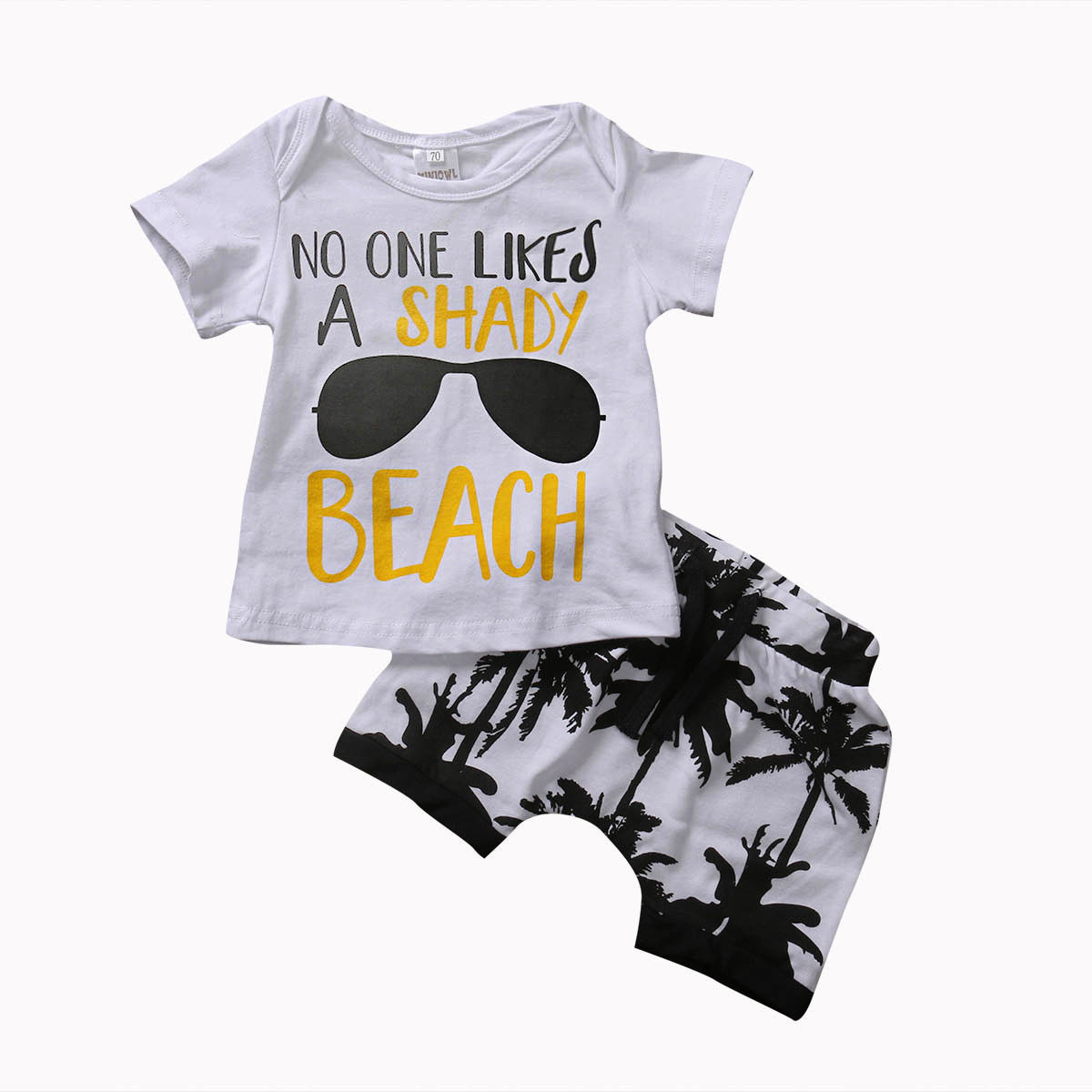 Summer 2017 Toddler Newborn Baby Boy 2Pcs Outfit T-shirt Tops+Coconut trees Shorts Clothes Set 0-3T