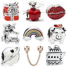 Punk Vintage Alloy Mouth Stars Peanut Rainbow Mickey Mouse Enamel Beads Charms Fit Pandora Bracelets DIY Necklaces for Women(China)