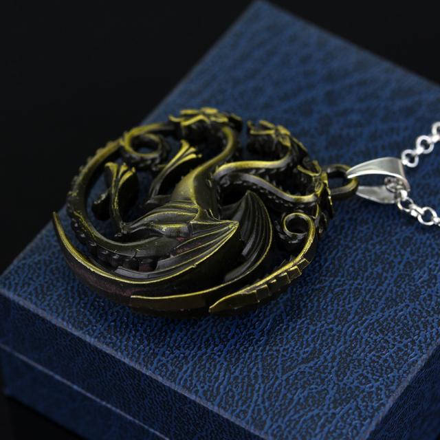 HOT – Game Of Thrones Daenerys Targaryen Three Headed Dragon Pendant Alloy Necklace
