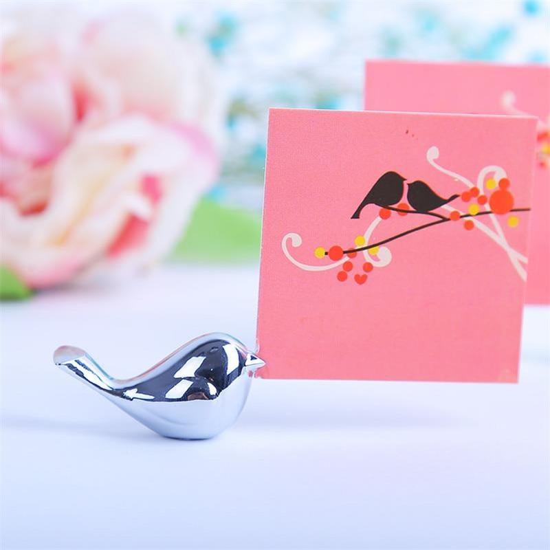 20PCS / LOT Kärlek Fåglar Bröllop Place Card Holder Borstat Silver - Semester och fester - Foto 4