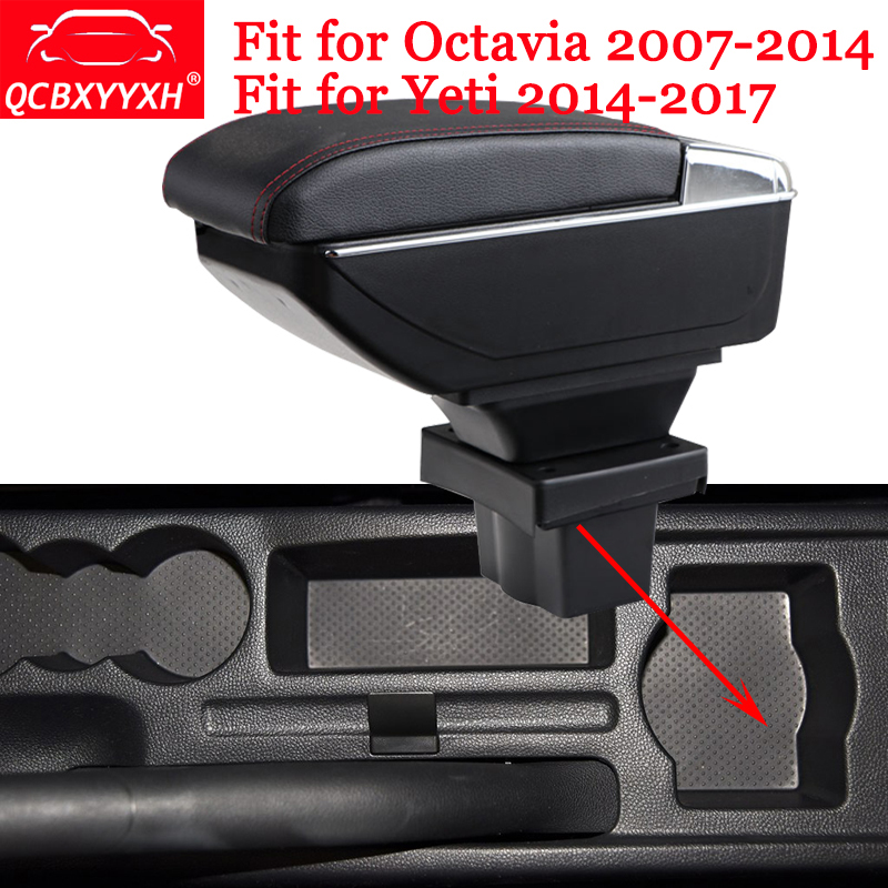 For Skoda Octavia 07-14 A5 Yeti 2014-2017 QCBXYYXH ABS Car Armrest Box Center Console Storage Box Holder Case Auto Accessories skoda mqb octavia 4pcs high quality stainless steel car glass elevator button box for octavia a7 2014 2015
